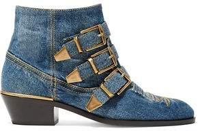 Chloé Susanna Embroidered Denim Ankle Boots