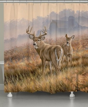 Laural Home Deer in Lifting Fog Shower Curtain Bedding