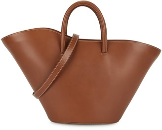 Little Liffner Open Tulip medium brown leather tote