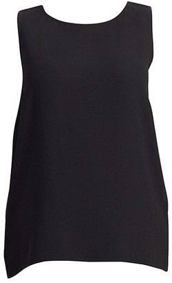 Eileen Fisher, Plus Size System Silk Boatneck Long Shell