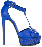 Casadei chain-effect platform t-strap sandals - women - Calf Leather/Leather - 36.5