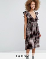 Monki Exclusive Check Midi Dress