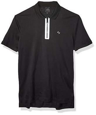 Armani Exchange A|X Men's Solid Colored Zipper Polo Shirt