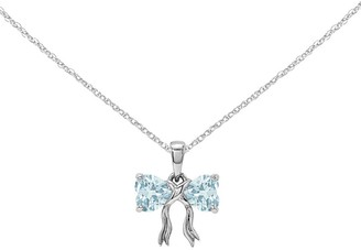 """14K White Gold Gemstone Bow Pendant with 18"""" Chain"""