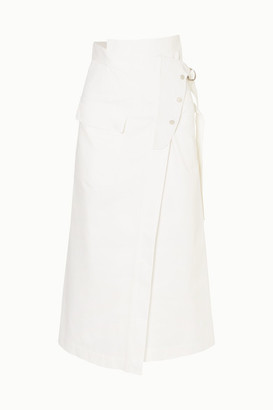Golden Goose Linette Suede-trimmed Cotton-twill Wrap Skirt - White