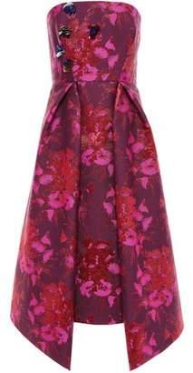 DELPOZO Embellished Strapless Brocade Midi Dress