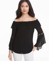 White House Black Market Off-The-Shoulder Crochet Trim Black Blouse