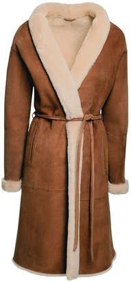 Simonetta Ravizza Shearling & Suede Belted Long Coat
