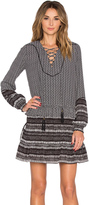 Twelfth Street By Cynthia Vincent Mixed Print Front Lace Up Dress
