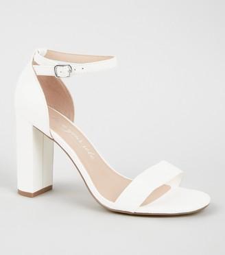 New Look Wide Fit Leather-Look 2 Part Block Heels