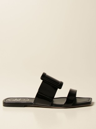 Roger Vivier Covered Buckle Mule Flat Patent Leather
