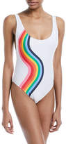 Milly Deep-Scoop Wavy-Print One-Piece Swimsuit