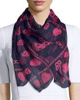 Alexander McQueen Charm & Skull Silk Scarf, Sapphire/Pink