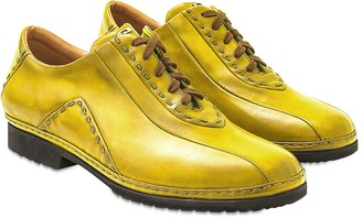 Pakerson Yellow Italian Hand Made Calf Leather Lace-up Shoes