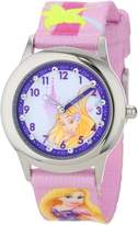 Disney Kids' W001041 Rapunzel Glitz Stainless Steel Printed Strap Watch