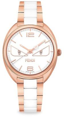 Fendi Momento Bugs Rose Goldtone Stainless Steel Ceramic Diamond Bracelet Watch