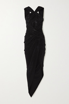 Alexandre Vauthier Asymmetric Ruched Crystal-embellished Stretch-jersey Gown - Black