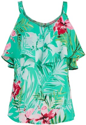 New York & Co. Ruffled Cold-Shoulder Top -7th Avenue