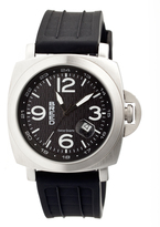 Breed Silver & Black Gunner Silicone-Strap Watch
