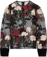 GANNI - Simmons Velvet-trimmed Embroidered Tulle Top - Black