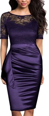 Mmondschein Women's Vintage Lace Short Sleeve Business Pencil Cocktail Dress Burgundy S