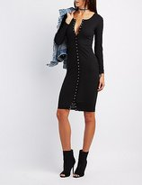 Charlotte Russe Ribbed Snap-Front Bodycon Dress