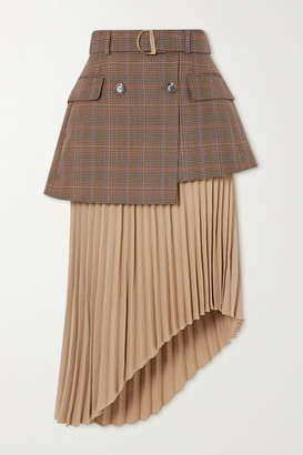 ANDERSSON BELL Bella Asymmetric Layered Checked Wool-blend And Pleated Crepe Skirt - Beige