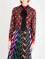 Mary Katrantzou Scots Crest-print silk blouse