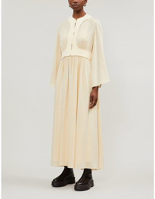The Row Smith gathered silk-crepe midi dress