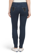 Juniors Lace Up Pocket Skinny Jeans