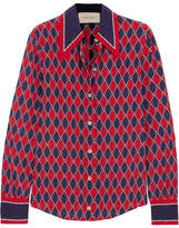 Gucci Printed Silk Crepe De Chine Shirt - Red