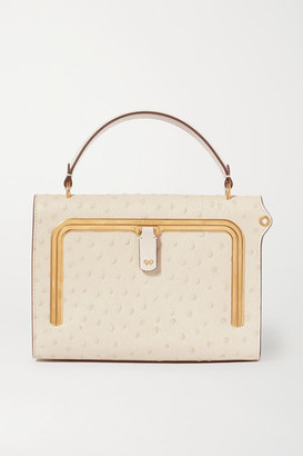 Anya Hindmarch Postbox Small Ostrich-effect Leather Tote - White
