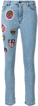 Mr & Mrs Italy Patched Cropped Skinny Jeans