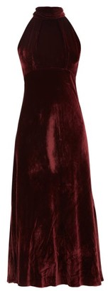 Saloni Michelle Halterneck Velvet Midi Dress - Burgundy