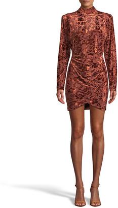 Nicole Miller Floral Velvet Burnout Mock-Neck Mini Dress