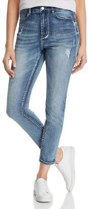 Karen Kane Distressed Skinny Ankle Jeans in Denim