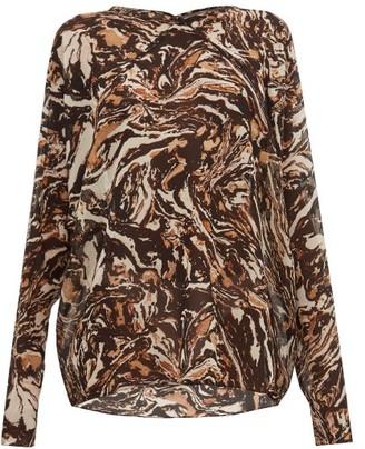 Raey Raglan-sleeve Marbled Animal-print Silk Top - Womens - Brown Print