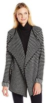 Colourworks Colour Works Women's Long Sleeve Cardigan with Leather Trim