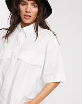 Weekday Shayla organic cotton boxy shirt in off-white