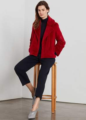 St. John Faux Beaver Fur Short Coat