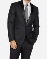 Express Slim Black Dobby Wool-Blend Tuxedo Jacket