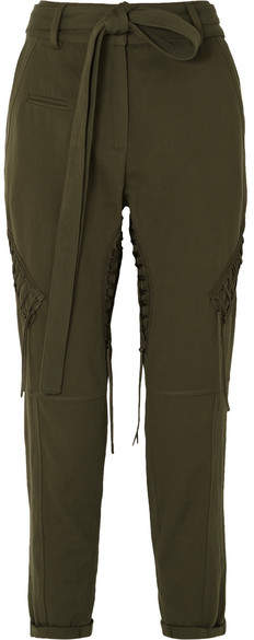 Saint Laurent Lace-up Cotton And Linen-blend Twill Straight-leg Pants - Army green
