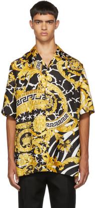 Versace Black and Yellow NYC Barocco Short Sleeve Shirt