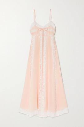 Loretta Caponi Lace-paneled Silk-georgette Nightdress - Pink