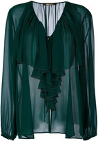 Roberto Cavalli frilled neck sheer blouse