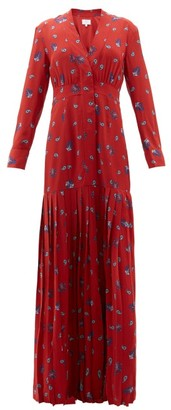 Rebecca De Ravenel Paisley-print Silk Crepe De Chine Maxi Dress - Red Multi