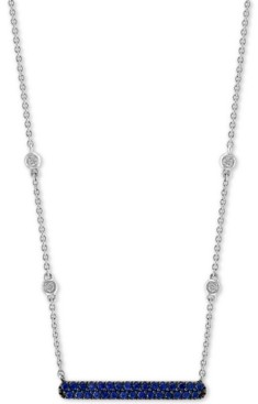 """Effy Sapphire (1/4 ct. t.w.) & Diamond Accent 18"""" Bar Necklace in 14k White Gold"""