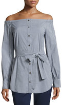 Michael Kors Gingham Off-the-Shoulder Belted Tunic, Blue/White