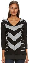 Dana Buchman Women's Mitered Stripe Mock-Layer Sweater