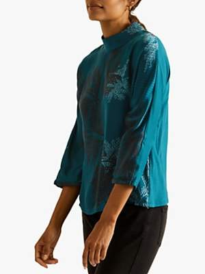 Jigsaw Frosted Leaf Print Blouse, Petrol Blue